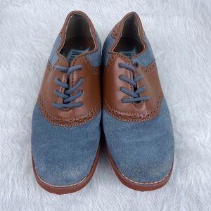 Florsheim Kids Lace Up Leather Suede Oxford Dress Shoes  Blue Brown Size Boys 1